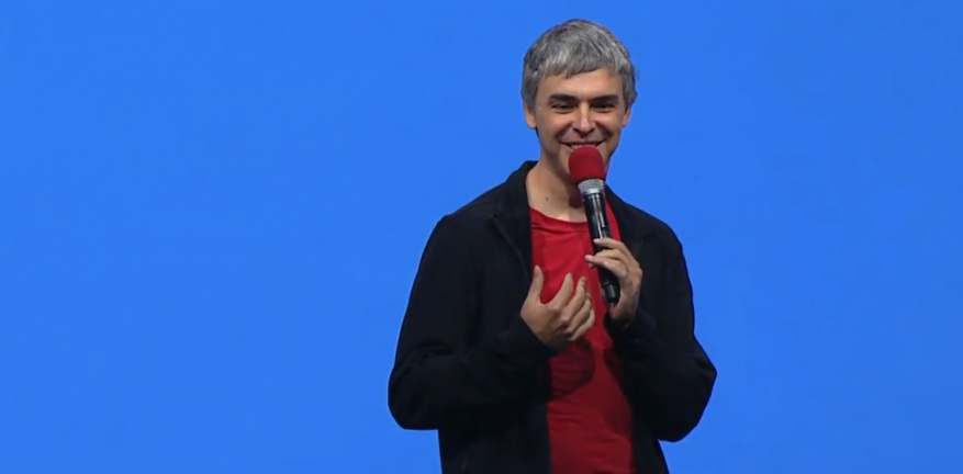 Googles Larry Page takes audience questions during the Google IO keynote address