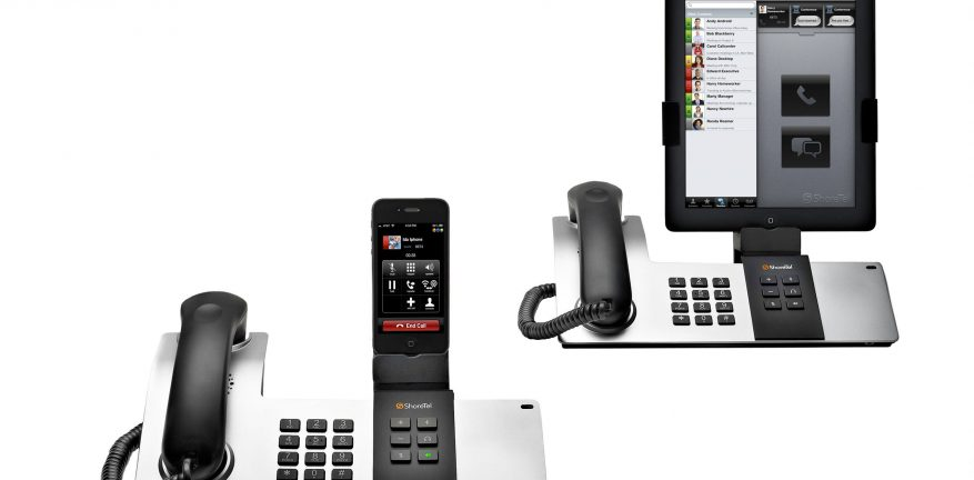 The ShoreTel Dock lets users plug in their iPhones or iPads to the corporate PBX iPad users can adjust their Dock for either landscape or portrait view