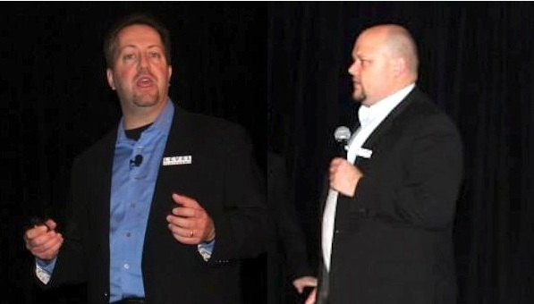 Dave Sobel left and Rob Rae right spoke about the AVGLevel Platforms deal and the future of Managed Workplace 2013