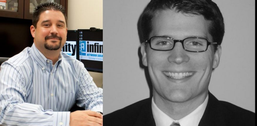 Infinity Network Solutions President and CEO Robert C Betzel left and Momentum CFO Matthew Conroy right