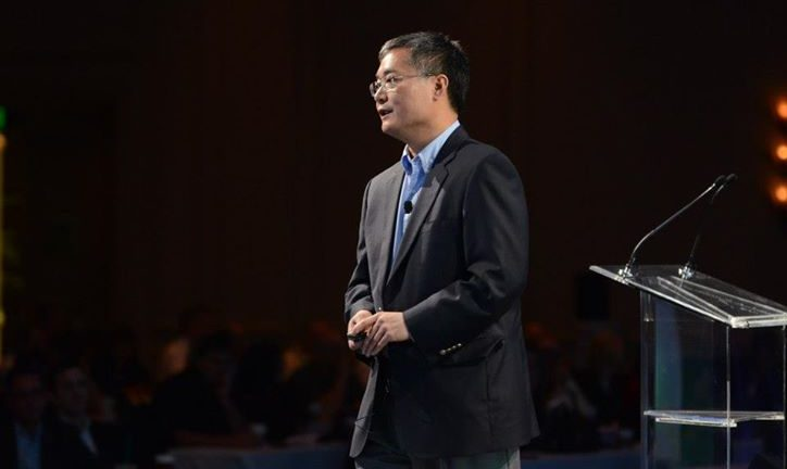 Synnex CEO Kevin Murai addressing an audience on Synnex products