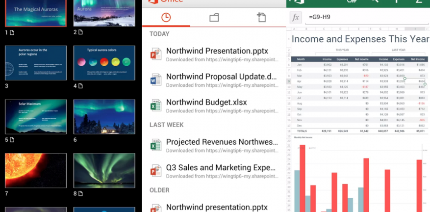 From left to right here are screen shots of a PowerPoint document a file view of documents available and an Excel document