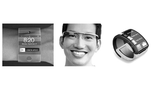 Apple iWatch left is just a rumor Google Glass is coming in 2014 center Galaxy Gear right may arrive in September 2013