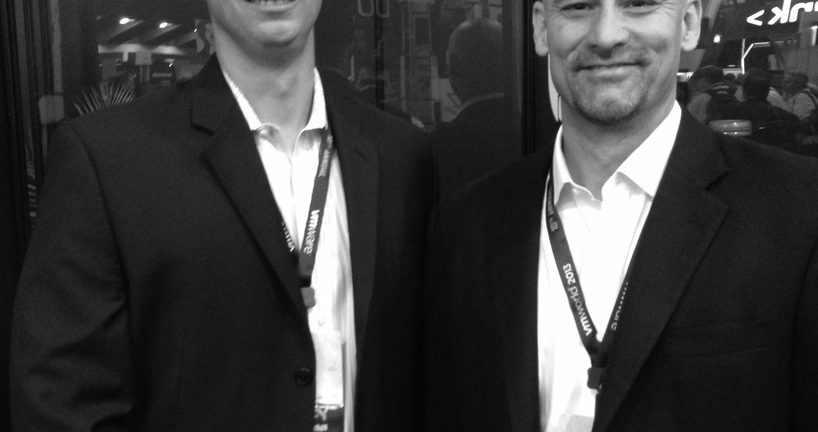 Lenovo Enterprise Alliance Marketing Manager Sean Gilbert left and Vice President of Enterprise Marketing Darrel Ward right say the company attended VMworld 2013 to showoff new solutions to partners