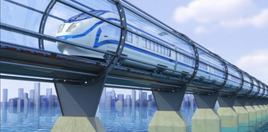 A conceptual drawing of serial entrepreneur and Tesla executive Elon Musk39s Hyperloop highspeed capsule system that would enable travel between San Francisco and Los Angeles in just 35 minutes