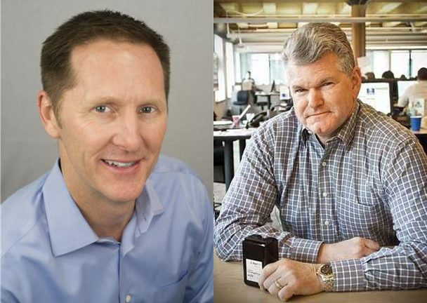 SolarWinds President and CEO left Kevin Thompson and AppNeta CEO Jim Melvin right partner