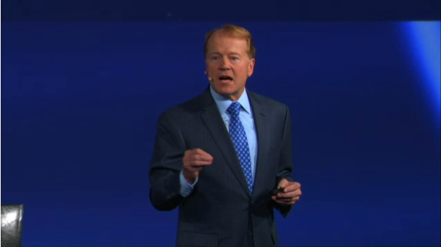 CEO John Chambers takes the stage at CiscoInsieme SDN and applicationcentric infrastructure launch in New York
