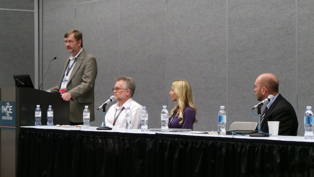 Left to right Ericcson VP Patrik Ringqvist Tiburon Software Architect Joe Chizmas Tiburon Product Manager Rochelle Newsome and Intrado VP Michael Nelson address IWCE Expo 2014