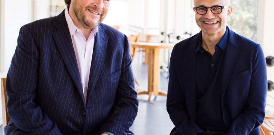 Salesforce CEO Marc Benioff left and Microsoft CEO Satya Nadella right
