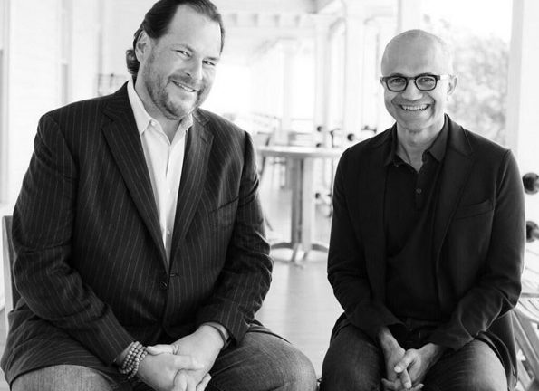 From left Marc Benioff chairman and CEO salesforcecom with Microsoft CEO Satya Nadella