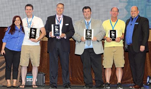 Datto Hall of Fame Inductees (minus Connect Computer) In photo (L-R): Christine Gassman, Datto; Jeremy Koellish, TekTegrity; James O'Barr, WOONetworks; Eric Peterson, Camera Corner, Inc.; Don Bentz, Preferred IT Group; Rob Rae, Datto