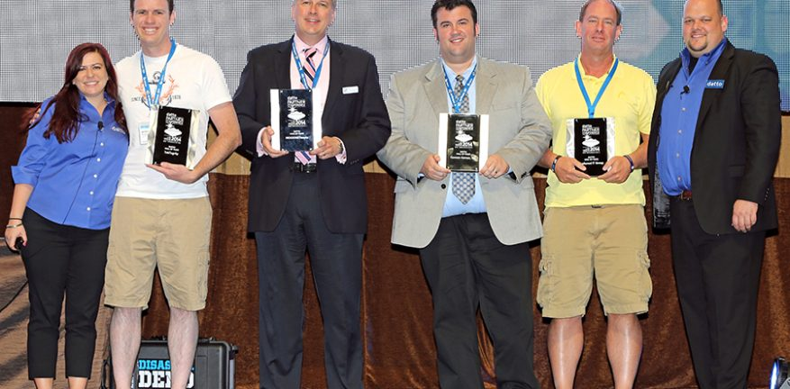 Datto Hall of Fame Inductees minus Connect Computer In photo LR Christine Gassman Datto Jeremy Koellish TekTegrity James O39Barr WOONetworks Eric Peterson Camera Corner Inc Don Bentz Preferred IT Group Rob Rae Datto