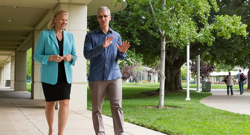 IBM CEO Virginia M Rometty left and Apple CEO Tim Cook take a stroll in the park for a photo op