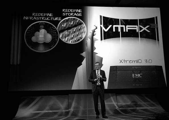EMC CEO David Goulden presented several new developments to media and press attendees at the EMC Redefine Possible event in London England