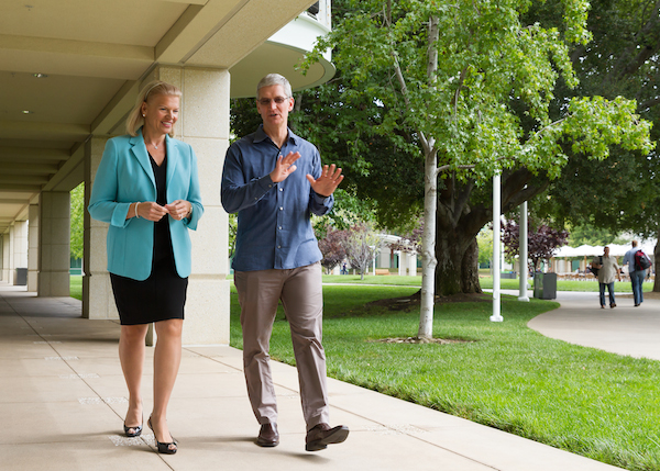IBM President Ginni Rometty and Apple CEO Tim Cook