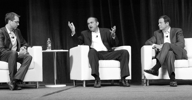 From left John Marshall Sanjay Poonen and Alan Dabbiere discuss the VMware and AirWatch integration during the first day of AirWatch Connect 2014 in Atlanta