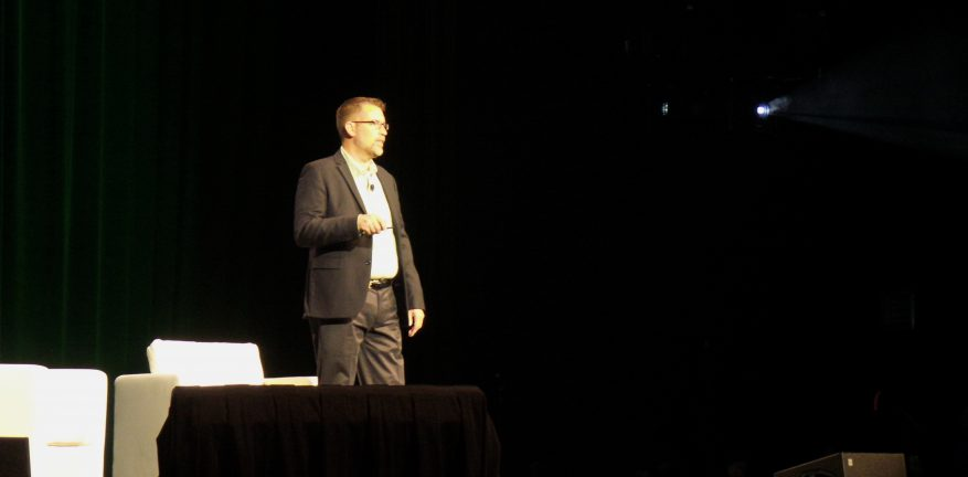 Veeam Product Strategy Senior Director Doug Hazelman during his keynote speech at VeeamON 2014