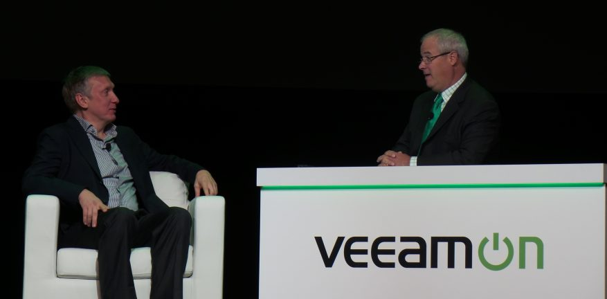 Veeam CEO Ratmir Timashev left being interviewed by Richard Laible right at VeeamON 2014
