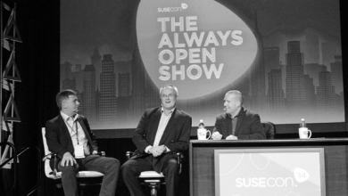 From left Nils Brauckmann president and general manager of SUSE Kevin Loosemore exeuctive chairman of Micro Focus and Michael Miller vice president of Global Alliances and Marketing at SUSE onstage during SUSECon 2014 in Orlando