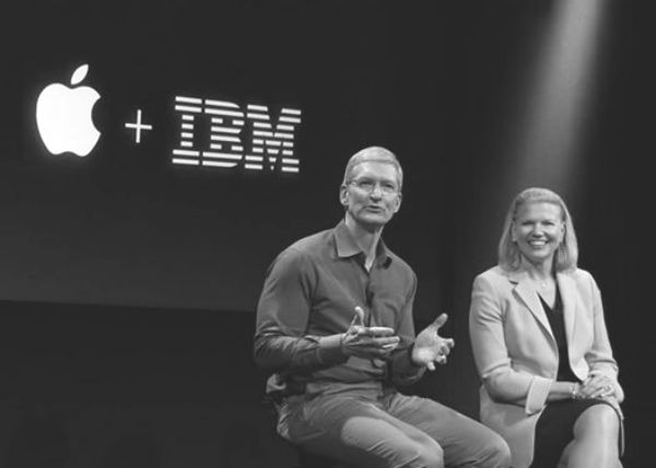 Apple CEO Tim Cook and IBM CEO Ginni Rometty at the two companies39 collaboration announcement in July