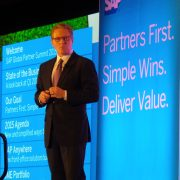 SAP Global Partner Operations President Rodolpho Cardenuto addressing partners at this year39s Global Partner Summit