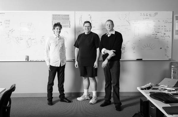 Pure cofounders John Hayes and John Colgrove Pure CEO Scott Dietzen