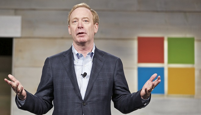 Microsoft general counsel and executive vice president Brad Smith at a Microsoft shareholder39s meeting last year