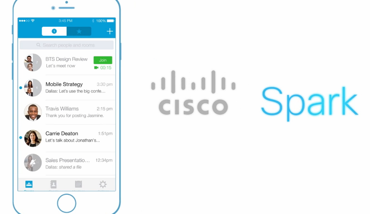 A screenshot of the Cisco Spark app from a video on Cisco39s website