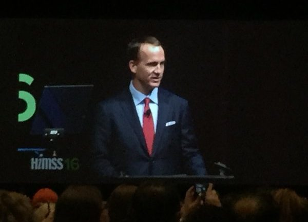 Super Bowl champion quarterback Peyton Manning gave the closing keynote on the final day of the HIMSS 2016 healthcare IT gathering in Las Vegas
