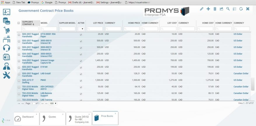Promys Adds Government Contract Quoting and Reporting to PSA Software