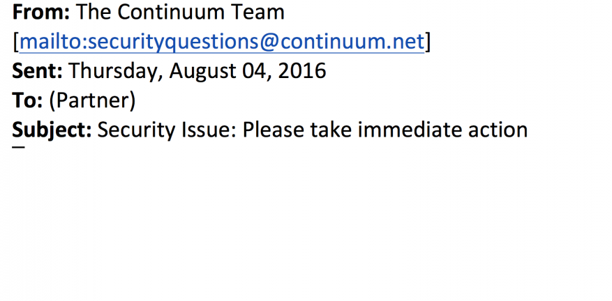 Oct 4 Statement From Continuum Regarding Security Breach
