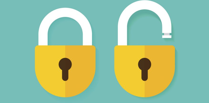 Side-by-side padlock images over a sea green background