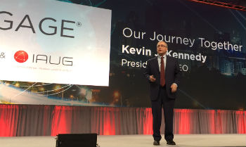 President and CEO Kevin Kennedy on stage at Avaya Engage, Feb. 13, 2017.