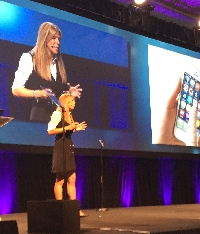 Ingram Micro's Renee Bergeron addresses the crowd at the company's Cloud Summit in Phoenix on Tuesday.
