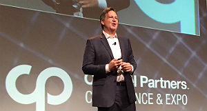 Trans4mers' Mike Schmidtmann on stage at the Channel Partners Conference & Expo on April 11.