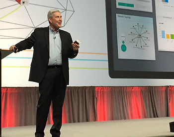 Marc Randall, SVP and GM of Avaya networking, on stage at Avaya Engage, Feb. 14.