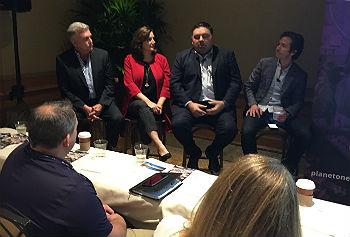 "PlanetOne's ""all-star SD-WAN panel"" included (left to right): Aryaka's Jim Hilbert, Verizon's Janet Schijns, Masergy's Chris MacFarland and Nitel's Ron Grason."