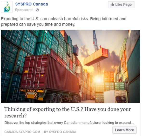 An alternative image and copy for the SYSPRO Facebook PPC campaign.