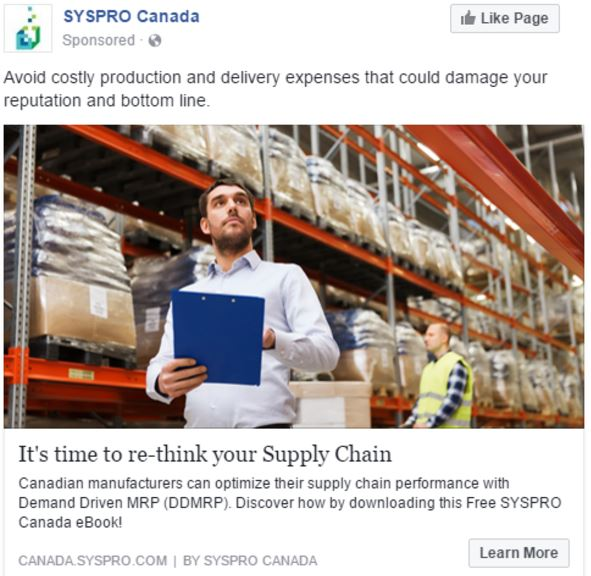 A third Facebook PPC ad for SYSPRO, with an alternative image and copy.