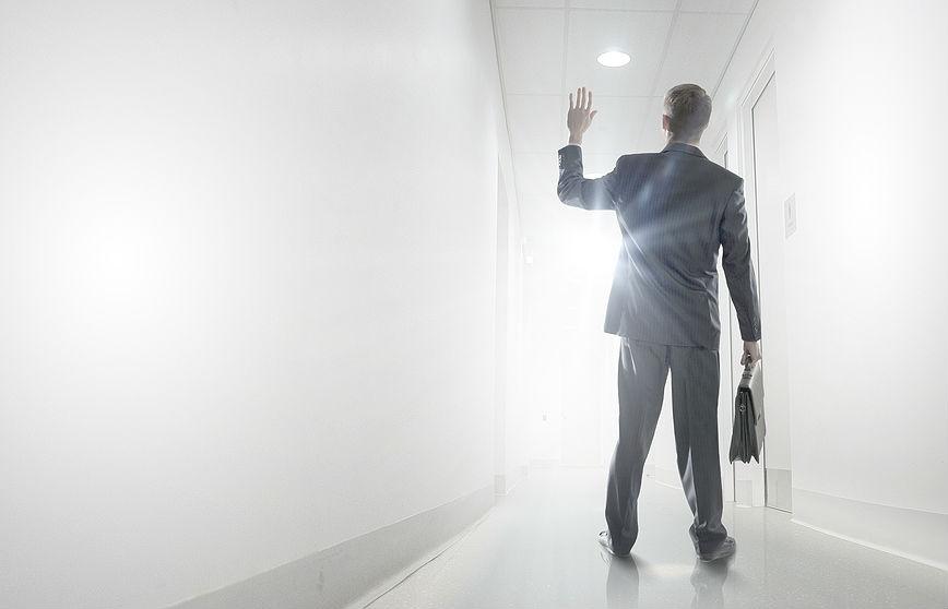 Businessman leaving, walking out