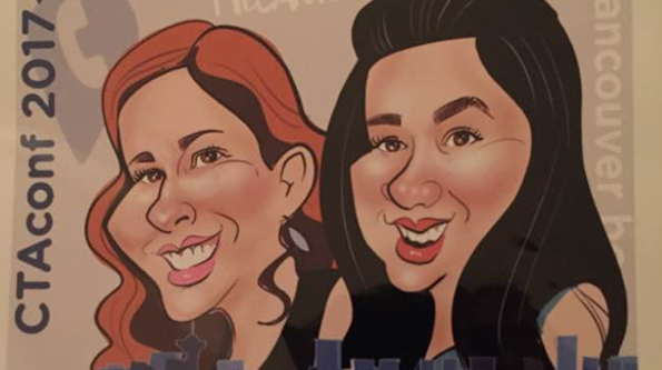 Caricatures can be a fun giveaway that encourage people to stay at your booth.