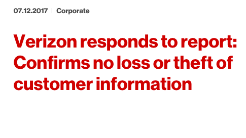Verizon Says Only 6 Million Customers Exposed in Cloud Breach