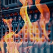 Computer server engulfed in flames.