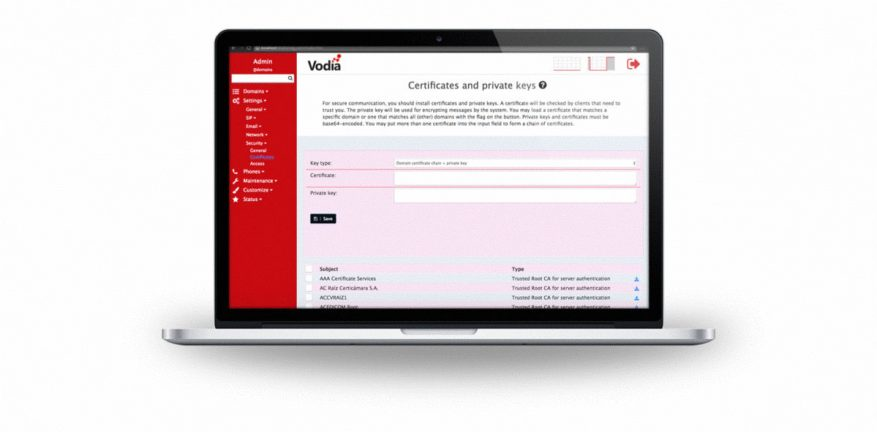 Vodia Networks User Interface