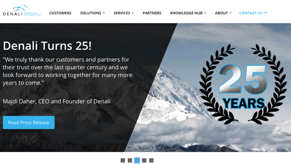 Screen grab: Denali Homepage