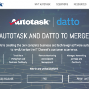 Autotask merger message with Datto from homepage