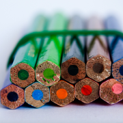 Bundled colored pencils