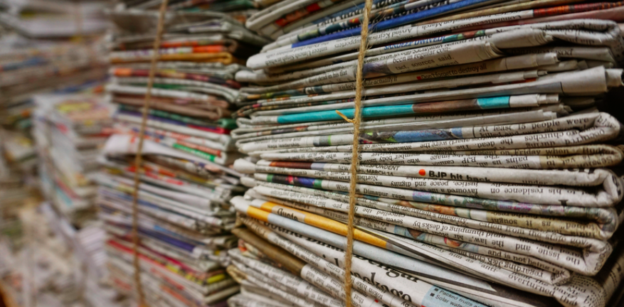 Newspapers bundled