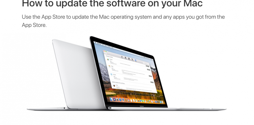 Apple how to update software screenshot