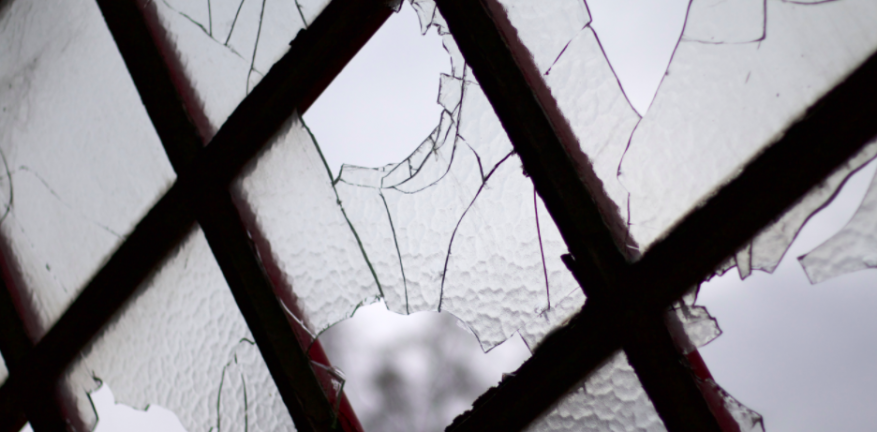 Broken glass windows